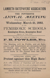 Advert For A Meeting Of The Lambeth Ratepayers Association